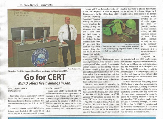 Morro Bay Life CERT Article - January 2015